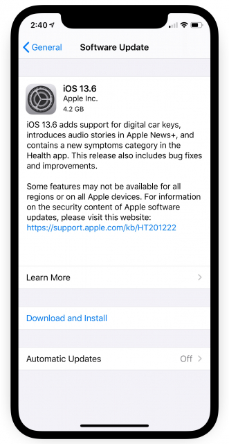 Apple Releases iOS 13.6 and iPadOS 13.6 With Car Key, Audio Stories in Apple News+