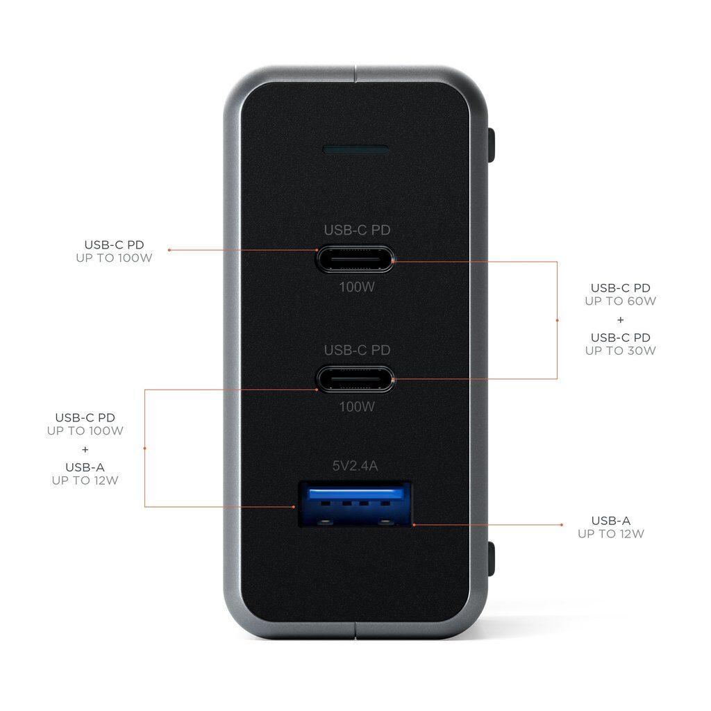 Satechi 100W USB-C PD Compact GaN Charger - захранване за ел. мрежа с 2xUSB-C PD изхода и USB 3.0 изход (сив)