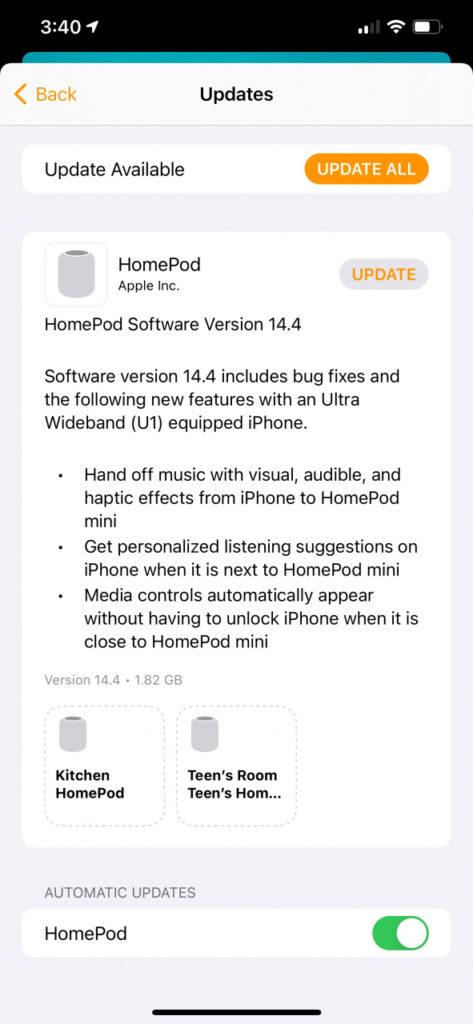 HomePod Software Update 14.4